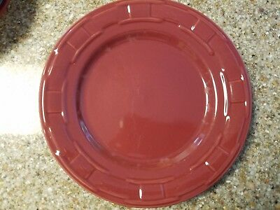 """LONGABERGER Woven Traditions Pottery 10"""" Dinner Plate Paprika Red"""