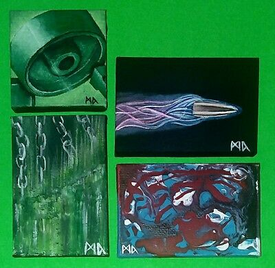 Abstract surreal art original canvas paintings lot bullet geometry acrylic pour