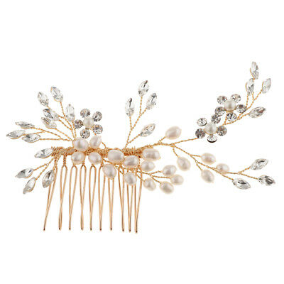 Elegant Wedding Bridal Hair Comb Pearl Hair Jewelry Rhinestone Headpiece