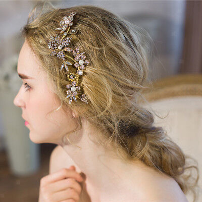 Vintage Wedding Bridal Hair Comb Pearls Hair Jewelry Rhinestone Headpiece