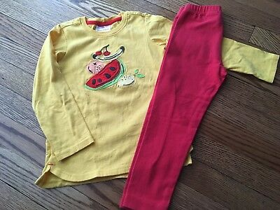 Girl's HANNA ANDERSSON Yellow Fruit Top w/Red Leggings Set - Size 100 (4)