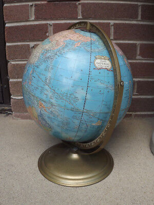 "Vintage Crams Imperial 12"" Globe w/USSR And Stand"