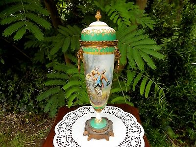 "Sevres French Porcelain Portrait Urn ""Courting Couple"" Artist Signed"