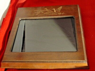"Solid Wood 11""x 11"" Fixed Blade & Folding Knife Flying Ducks Display Frame"