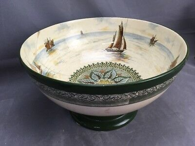 """HUGE 14"""" Royal Doulton Footed Punch Bowl Series Ware Ships w/ Old Staple Repairs"""