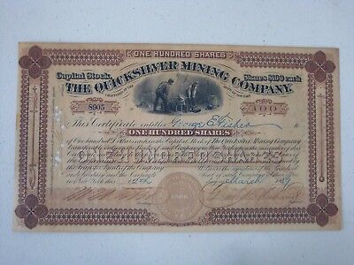 New York 1889 Stock Certificate The Quicksilver Mining Co. Miners Vignette