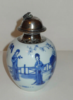 "Chinese Kangxi Blue & White ""Long Eliza"" Porcelain Silver Mounted Tea Caddy"