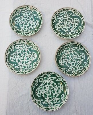 Wonderful Antiques Set of 5 Chinese Porcelain Dish and bowl With Green Dragons