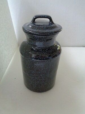 "Blue Speckled Enamel Look Jar Vase With Lid 6"" Tall"