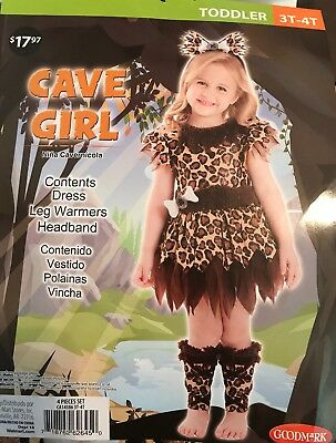 Cave girl Costume Fancy Dress with leg warmers and headband Sz 3-4t