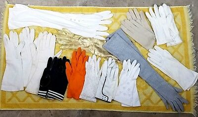 Lot of 13 pair Vintage Gloves Various styles colors and lengths