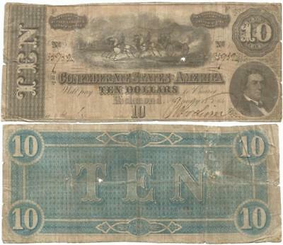 "1864 CONFEDERATE STATES of AMERICA $10.00 Note EARLY ""NO SERIES"" Civil War Issue"