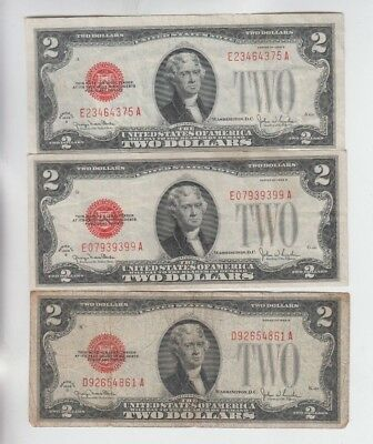 United States note Red Seal  $2 1928's 3 notes f-vf