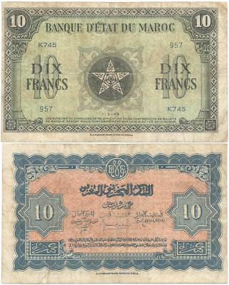 1944 FRENCH MOROCCO Oversize DIX or 10 FRANCS Note 1st ALLIED Issue WORLD WAR II