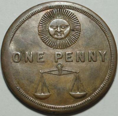 MASONIC Chapter Penny ALL SEEING EYE Not Engraved BUT CARRIED No NUMBER or CITY