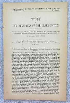 1878 CREEK INDIANS – Seeking Due Awards for Loyal Civil War Service to Union