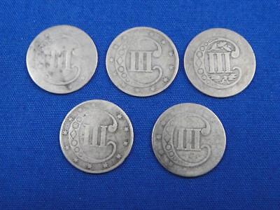 5 US United States of America Three Cent Silver Coins 1851 1853 Lot
