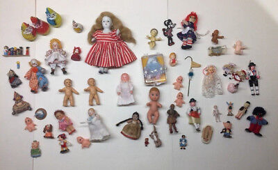 Vintage Lot Dollhouse Miniatures Jointed Bisque Baby Doll Disney Japan Germany