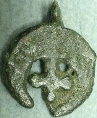 Byzantine Bronze Cross / Crescent Pendant