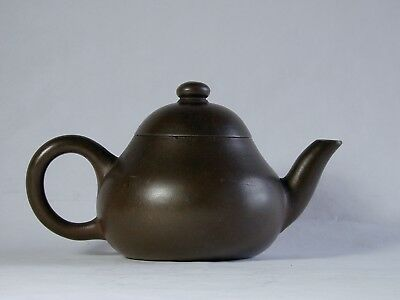 Chinese Qing Yixing Pottery Teapot + Cover Signed with Calligraphy on Bottom