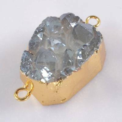 Uneven Natural Agate Titanium Druzy Connector Gold Plated B066188