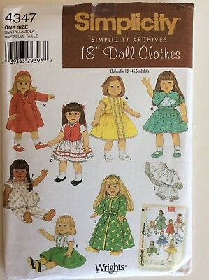 """Simplicity Archives 18"""" Doll Clothes Sewing Pattern 4347, Mostly Uncut, 2006"""