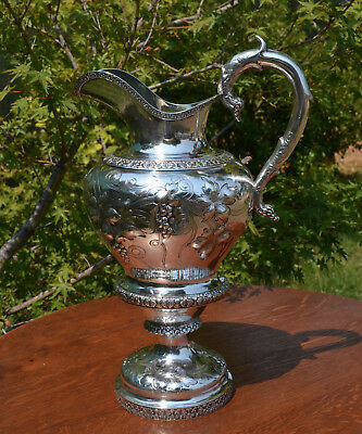 Rare Large Antique Gerardus Boyce New York Coin Silver Wine Water Jug Pitcher