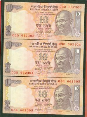 India GANDHI 10 Rs Banknote Paper Money 3 Consecutive number UNC Lot#5469