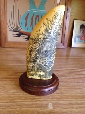 "Nantucket Whaling MuseumREPLICA SCRIMSHAW WHALE Tooth ""Fitting Out The Sunbeam"""