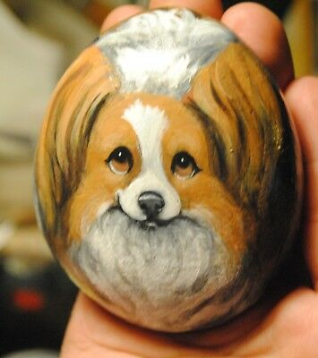 Hand Painted~Rock~Papillon~FACE~Dog~Original Painting~SToNE~Whimsical~canine~art