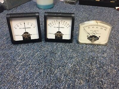 Lot of (3) panel meters: Simpson DC milliamperes, Ohmite AC Voltage