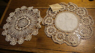 Antique DOILY PAIR, Lutheran Mission, India, Crochet, Bobbin Lace