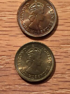 1965 and 1972 Hong Kong 5 Cents (2 Coins). BRIGHT.