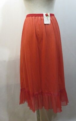 Vintage 50s Slip Red Crystal Pleats NOS Rogers Petticoat Lace Nylon Tricot RAB