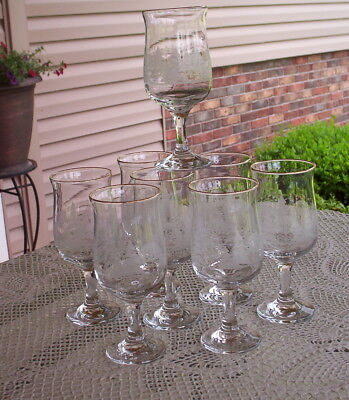 8 Arbys Footed White-Etched Winter Scene Holiday Glasses-Gold Rimmed Goblet-Wine