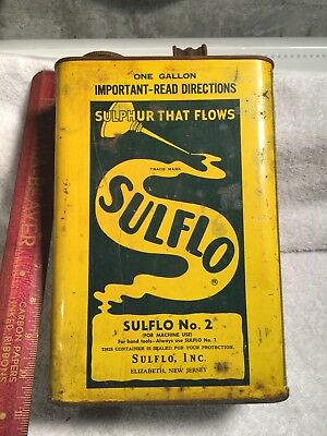Sulflo Gallon oil can in good condition-Sulflo Inc. Elizabeth New Jersey