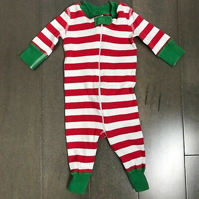 Hanna Andersson 50 Green Red Stripe Zipper Pajamas Christmas Holiday 0-6 Months