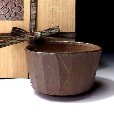 HE7: Vintage Japanese Surfce Carved Pottery Tea bowl, Bizen ware with wooden box
