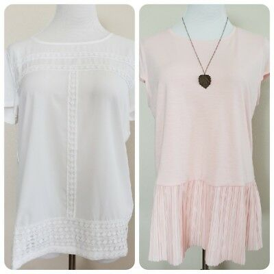 NWT Lot of 2 Tommy Hilfiger white pink shirt top womens Size large ruffled hem