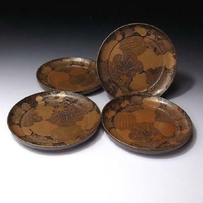 GH4: Antique Japanese 4 Lacquered Wooden Tea Plates, Gold MAKIE decoration