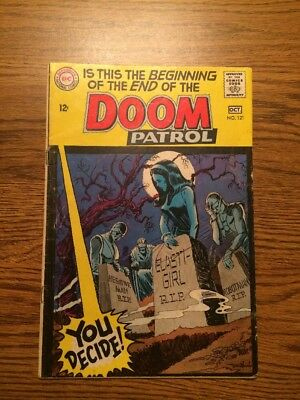 The Doom Patrol 121 VG Death Of Doom Patrol Last New Issue 1968 DC Complete