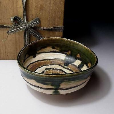 HJ7: Vintage Japanese Tea bowl, Oribe ware with wooden box, Unique patterns