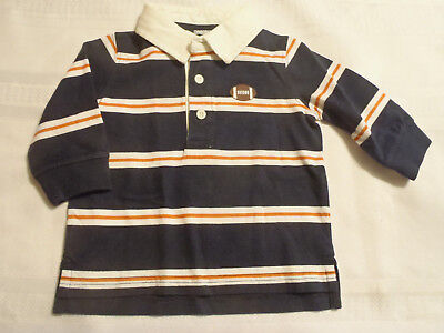 Gymboree 3-6 Month Tiny MVP Long Sleeve Navy Striped Football Polo Shirt Top NWT