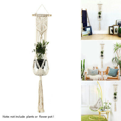 CA Vintage Macrame Plant Hanger Flower Pot Garden Holder Leg Hanging Rope Basket