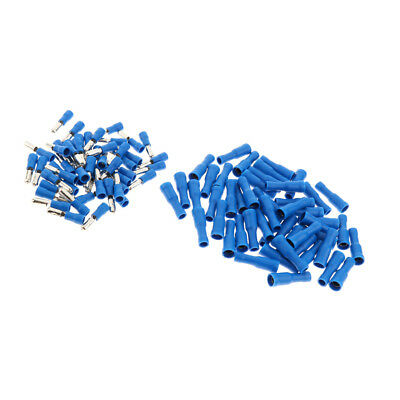 100pcs Terminals Connector Kit Insulated Terminal Wire Butt Connector Blue