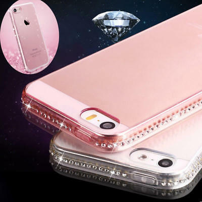 Bling Glitter Diamond Crystal Clear Rubber Soft Case Cover For iPhone X 7 Plus 6