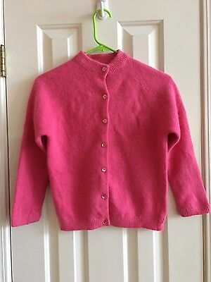 Vintage Angelon Darlene Angora Hair & Lambswool Cardigan Sweater Pink