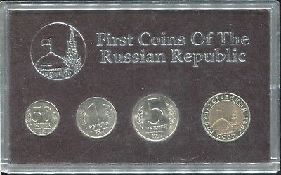 """1991 Russia 4-Coin """"First Coins of the Russian Republic"""" Mint Set with Case!"""