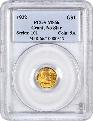 1922 Grant without Star G$1 PCGS MS66 - Classic Commemorative - Gold Coin