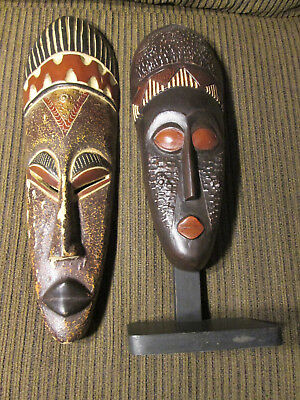 Set of 2 Wooden masks from Ghana / Africa (#120)